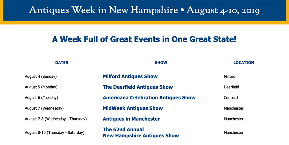 Antiqwe Week in New Hampshire